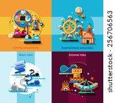 amusement park design concept... | Shutterstock .eps vector #256706563