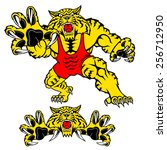 wildcat wrestler mascot with... | Shutterstock .eps vector #256712950