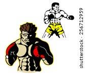 boxers boxing gloves   Shutterstock .eps vector #256712959