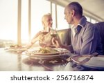 middle age  couple having lunch ... | Shutterstock . vector #256716874
