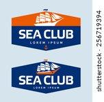 sailing ship logo design... | Shutterstock .eps vector #256719394