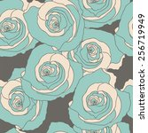 seamless pattern with rose. | Shutterstock .eps vector #256719949