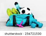 sports bag with sports... | Shutterstock . vector #256721530