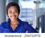 close up portrait of a happy... | Shutterstock . vector #256722970