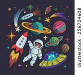 cartoon space illustration set. ... | Shutterstock .eps vector #256724608