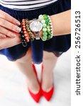 stylish bracelets and clock on... | Shutterstock . vector #256726513