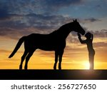 silhouette of a girl giving a... | Shutterstock . vector #256727650