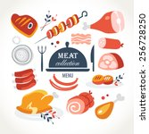 meat menu collection | Shutterstock .eps vector #256728250
