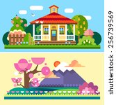 flat spring and summer spring... | Shutterstock .eps vector #256739569