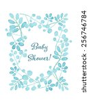 baby shower card. floral wreath ... | Shutterstock .eps vector #256746784