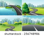 four scenes of roads to the city | Shutterstock .eps vector #256748986