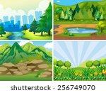 four scenes of the park | Shutterstock .eps vector #256749070