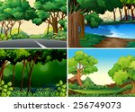 four scenes of forest and river | Shutterstock .eps vector #256749073