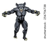 scary wolfman werewolf or wolf...   Shutterstock .eps vector #256756738