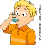 illustration of a sickly boy... | Shutterstock .eps vector #256759819