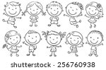 ten happy cartoon kids  black... | Shutterstock .eps vector #256760938