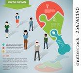 chicken puzzle info graphic... | Shutterstock .eps vector #256761190