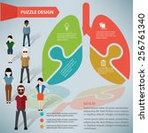 lung puzzle info graphic design ... | Shutterstock .eps vector #256761340
