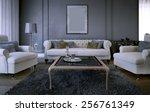 luxury living room in art deco... | Shutterstock . vector #256761349