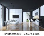 dining kitchen modern style  3d ... | Shutterstock . vector #256761406