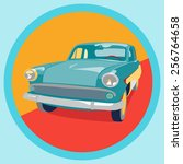 sticker of retro car | Shutterstock .eps vector #256764658