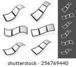 set of 3d filmstrips with gray... | Shutterstock .eps vector #256769440