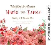 flower wedding invitation card  ... | Shutterstock .eps vector #256788244