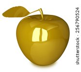 golden apple with leaf isolated ... | Shutterstock . vector #256790524