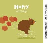 happy birthday greeting card.... | Shutterstock .eps vector #256790638