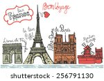 set of paris night landmark ... | Shutterstock .eps vector #256791130
