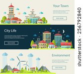 set of illustration of flat... | Shutterstock . vector #256792840