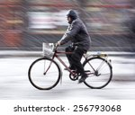 Man On Bicycle In The City In...