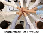 united hands of business team... | Shutterstock . vector #256796020