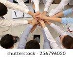 united hands of business team... | Shutterstock . vector #256796020