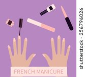 flat design. french manicure.... | Shutterstock .eps vector #256796026