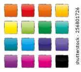 set of colored square buttons...   Shutterstock .eps vector #256801726