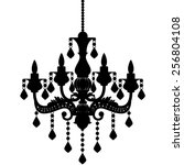 Chandelier Silhouette Isolated...