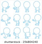 set of doodle characters poses  ... | Shutterstock .eps vector #256804240