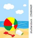 beach ball and pail with shovel ... | Shutterstock . vector #25680469