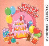 baby birthday card with teddy... | Shutterstock .eps vector #256807660