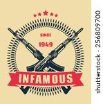 infamous since 1949 color... | Shutterstock .eps vector #256809700