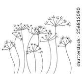 black doodle flowers vector | Shutterstock .eps vector #256813090