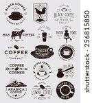 handmade coffee badges... | Shutterstock .eps vector #256815850