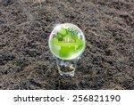 eco friendly earth in light bulb | Shutterstock . vector #256821190