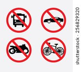 prohibit sign vector .no bike... | Shutterstock .eps vector #256829320
