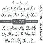 vector calligraphy alphabet. | Shutterstock .eps vector #256829704