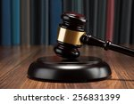 close up of wooden gavel and... | Shutterstock . vector #256831399