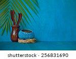 handmade coconut bowls with tea ...   Shutterstock . vector #256831690