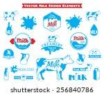 set of vector milk labels and... | Shutterstock .eps vector #256840786