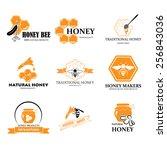 set of honey and bee logos... | Shutterstock .eps vector #256843036
